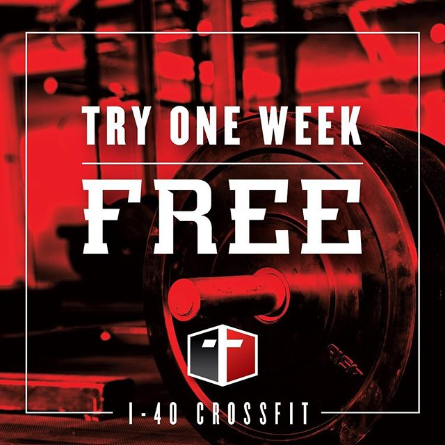 "Have you ever wanted to try CrossFit but didn't want to jump into a membership or were worried that the workouts are ""too hard""? Next week, May 21-25, come check us out for FREE! Every workout will have scaling options for all ages and fitness levels, as does every day! Class times will be 5:15am, 4:30 & 5:30pm. Feel free to share! #crossfit #i40crossfit #rogue #roguefitness #free"