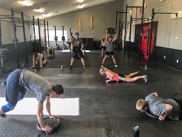 Classes visited the pain cave today with lots of runs and burpees to overhead with weight. You all killed it! #crossfit #burpees #rogue #roguefitness #i40crossfit #fitfam
