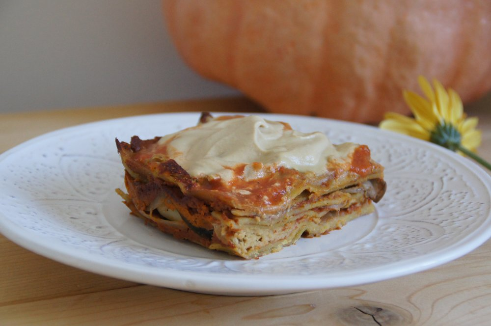 Vegetable lasagna with cashew cream sauce