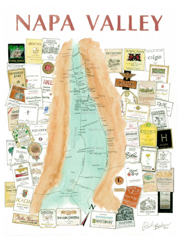 Napa Valley Wine Map WINEMAPScom