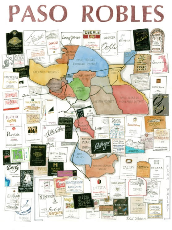 PASO ROBLES WINE MAP - $30 - Paso Robles is an exciting and diverse wine region located halfway between Los Angeles and San Francisco in the heart of the Central Coast region of California. It's one of the state's fastest growing regions and has become known for some excellent wines at affordable prices and for the great hospitality from the locally-owned wineries. The area is highly regarded for a wide variety of wines, especially it's