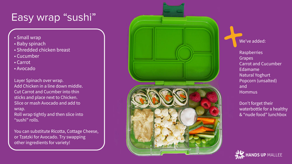 "easy wrap ""sushi"" - Download this recipe for a healthy lunchbox option"
