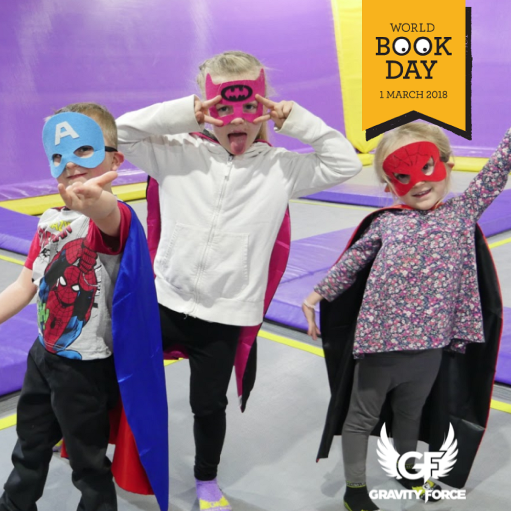 World Book Day - On Thursday 1st March Gravity Force are teaming up with Usborne books to celebrate World Book Day 2018. Dress up as your favorite book character and head down to our 11:00 am Gravity Tots session at either Camberley or Sunderland for bouncing, fun and games. World Book Day of authors, illustrators, books and (most importantly) it's a celebration of reading. To find out more about World Book Day click below.