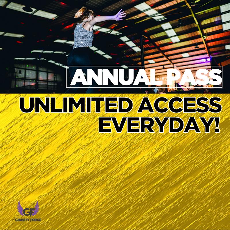 Annual Pass at Gravity Force - In case you hadn't noticed. Gravity Force has become the UK's first trampoline park to launch an annual pass. The best bit is, it is cheaper than a standard jump. If you want to find out more, read on.Just £8 per month gives you unlimited access to all jump sessions (excluding fitness, soft play, holiday camps and parties).Buying an annual pass is simple. You can do so online, in park or over the phone. There is no joining or admin fee, No pre-booking required (subject to availability) and you will be included in regular pass holder offers and promotions. To learn more about the annual pass click here otherwise click below to buy.