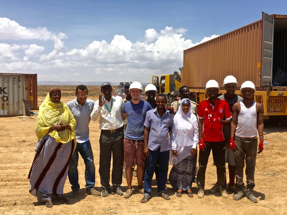 Sadia, John, Abdiasis, and Amsale of PENHA join the SG Somaliland construction team on site.