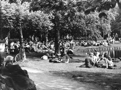 Hippies smoking weed in Vondel Park in the late 1960s
