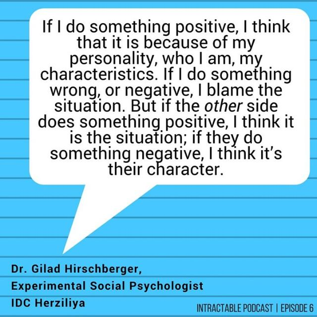 "In Episode 6, we ask: what do the people really want? As expected, it's complicated. Tune in to hear Dr. Gilad Hirschberger explain the psychological foundations of intractability. He says, ""If someone hits me, i think they are a terrorist. If i hit the other side, i do it out of self defense."" Listen on apple podcasts (link in bio). . . . . #intractablepodcast #israel #palestine #israeli #palestinian #psychology #socialpsychology #experimentalpsychology #intractable #conflict #israelipalestinianconflict #jerusalem #telaviv #podcast #radio"
