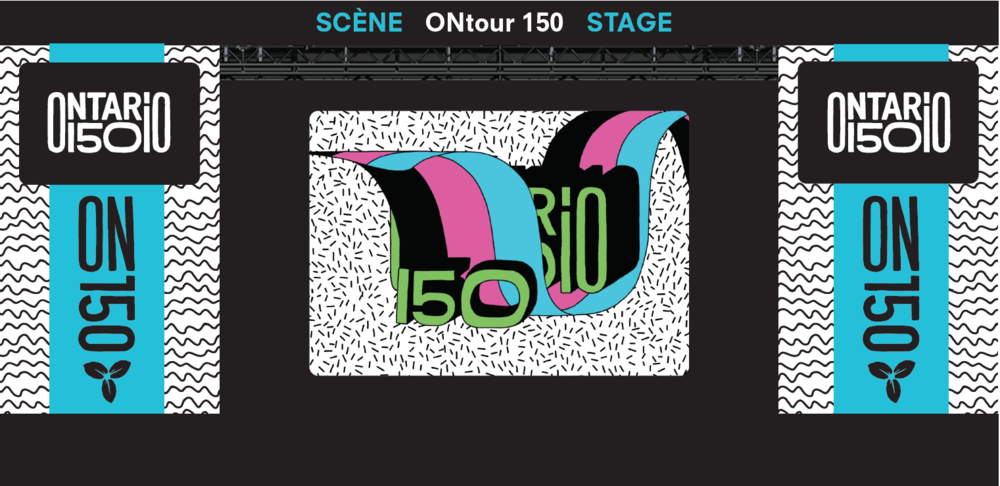 Travelling stage with animated logo