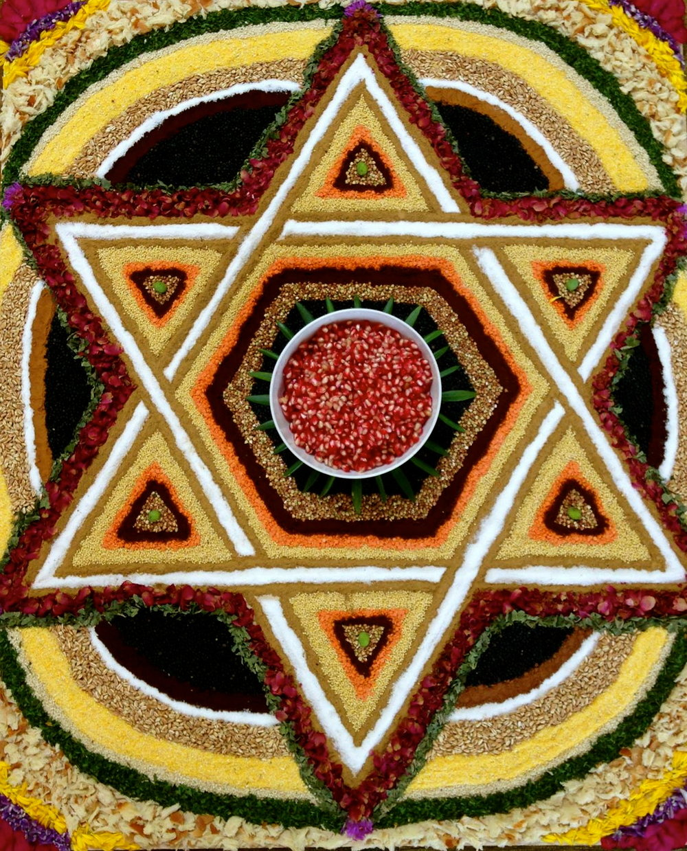 Star of david crafted with ancestral foods by participants in Hillula: Ancestral healing in jewish traditions workshop with taya shere and daniel foor