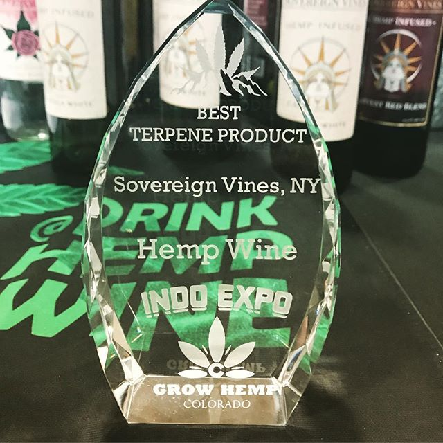 This weekend we received an amazing award for Best Terpene Product at the 2019 IndoExpo Hemp Awards! It is such an honor to receive national recognition for the unique flavors and aromas our wines have. Both of our founders were on hand to receive the award and Jim Castetter said a few words about his experience putting out hemp infused wines over 20 years ago! With the new Farm Bill we are as excited as ever to be working towards nationwide distribution!
