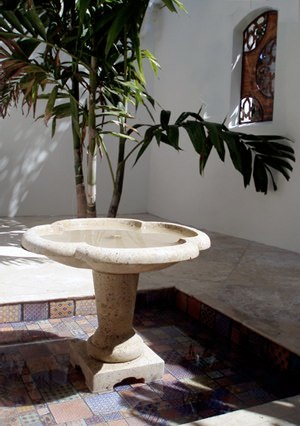 Stone Pedestal Fountain in Situ