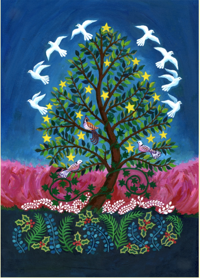 "This Christmas ""Tree of Life"" painting was created for Good Cause Greetings holiday cards"