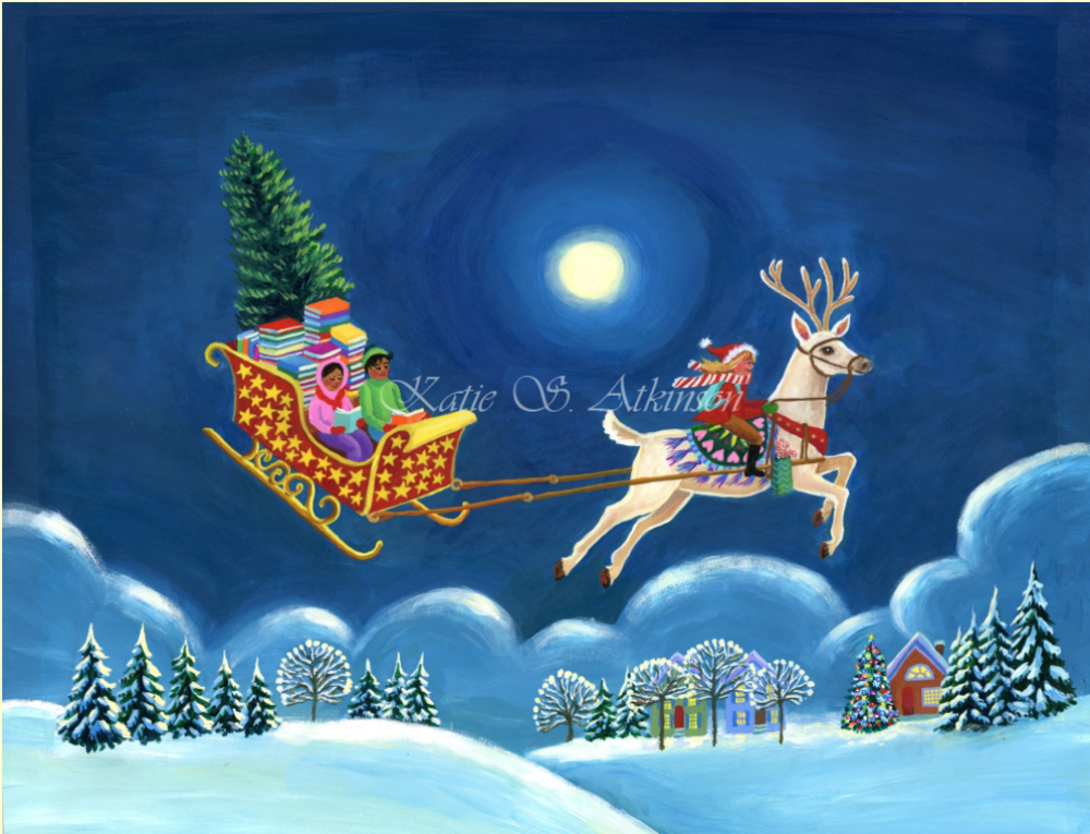 Painting was created for Good Cause Greetings holiday cards