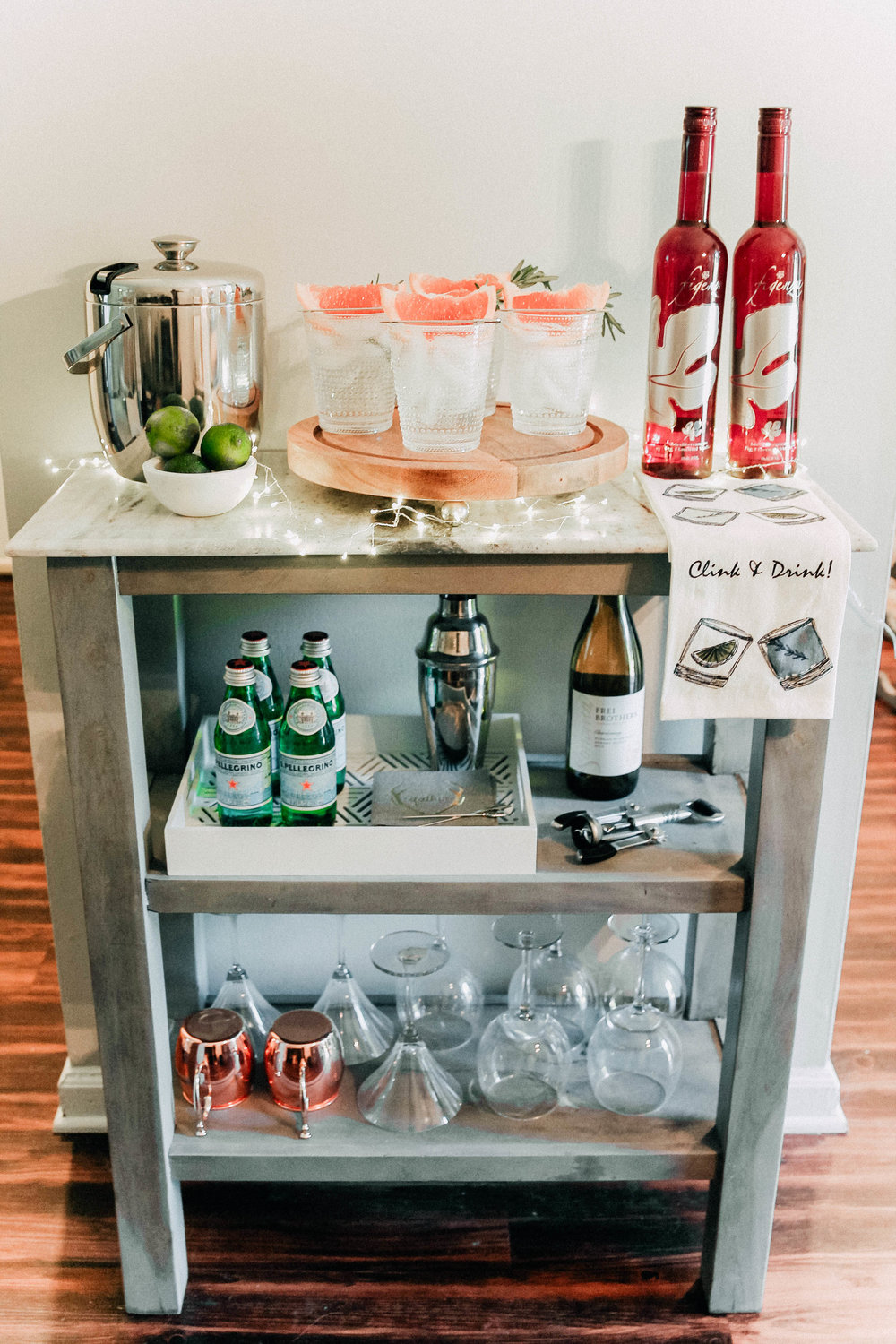 HOW TO STYLE A BAR CART - + GRAPEFRUIT COCKTAIL RECIPE
