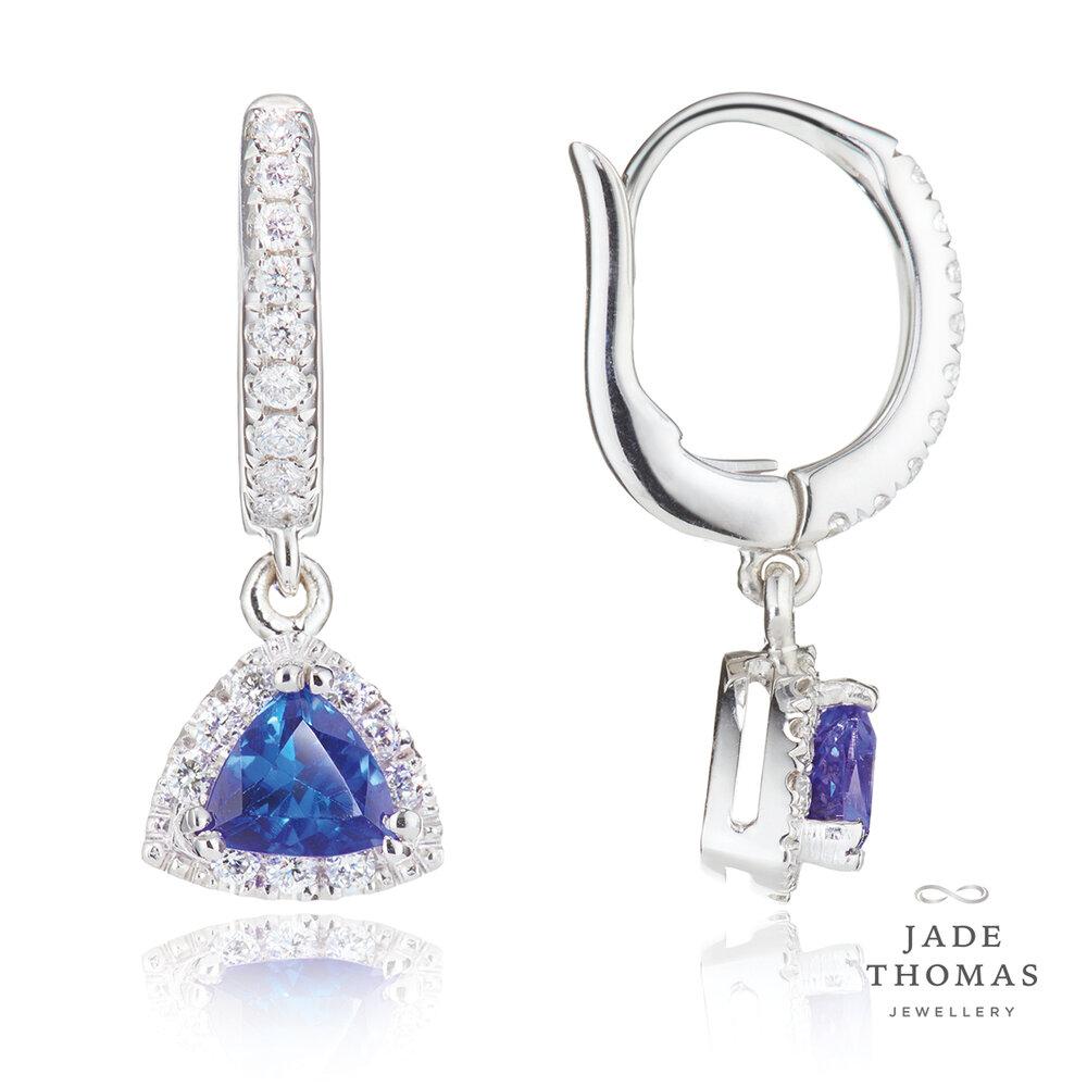 18ct White Gold Tanzanite and Diamond Earrings