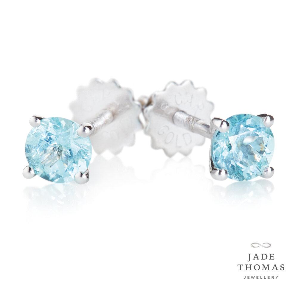 18ct White Gold Paraiba Tourmaline Stud Earrings