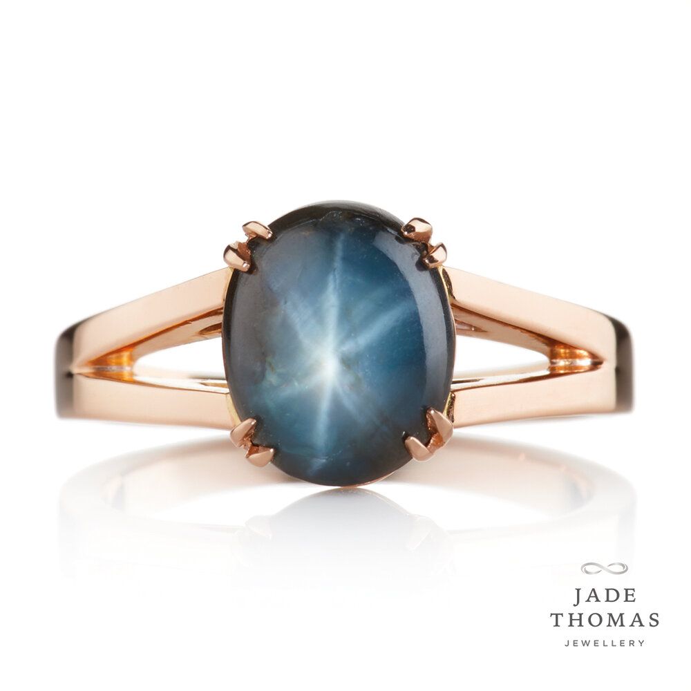 18ct Rose Gold Ring with Star Sapphire