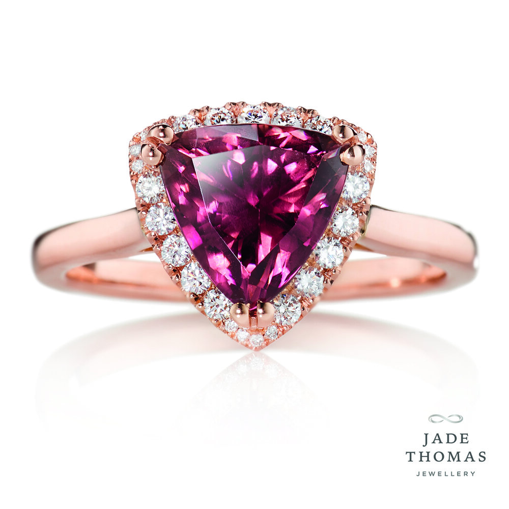 18ct Rose Gold Ring with Red Tourmaline and Diamonds