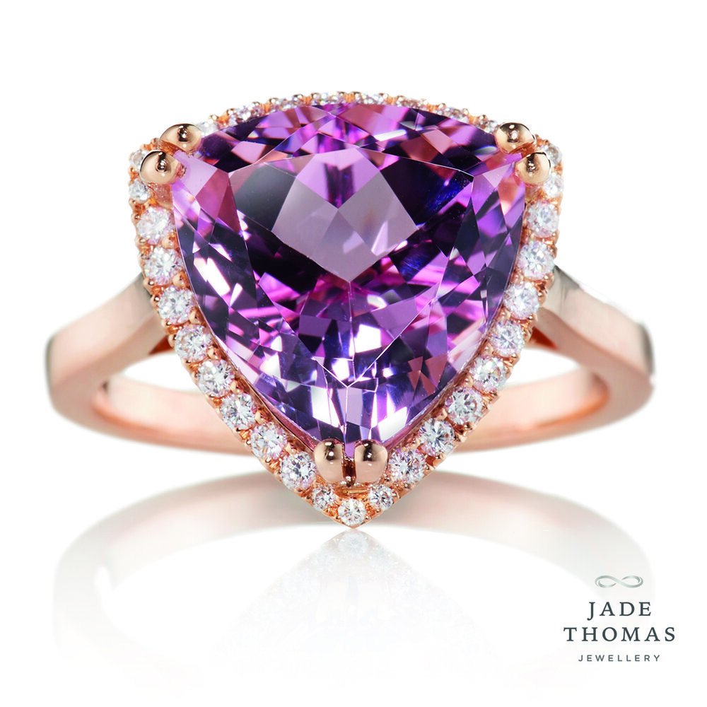 18ct Rose Gold Ring with Morganite and Diamonds