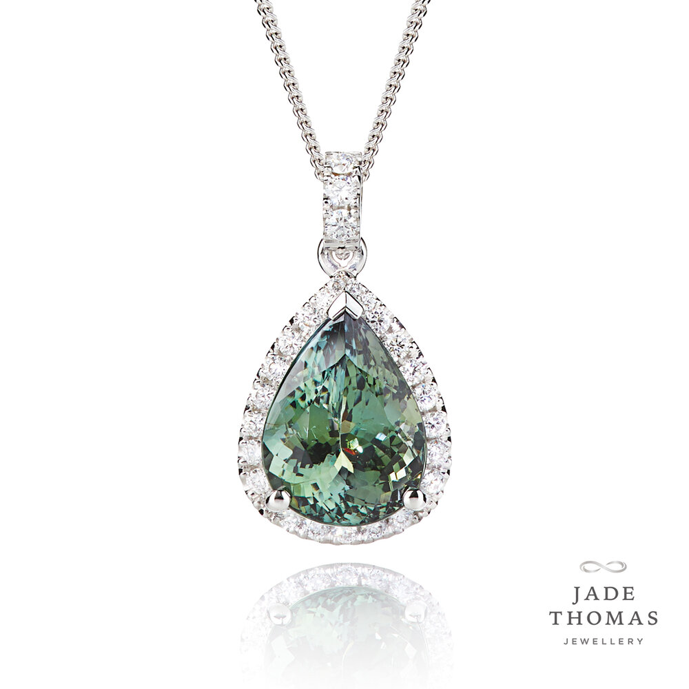 18ct White Gold Pendant with Green Tanzanite and Diamonds