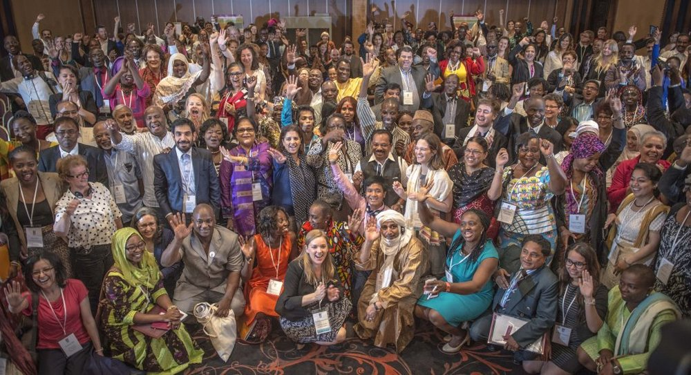 Girls Not Brides  members at the first Global Meeting in Casablanca, Morocco, in May 2015.