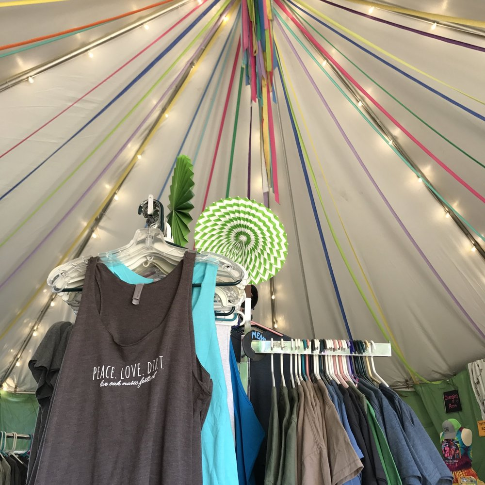 Mercantile - The Mercantile is where you can pick up all of the festival's official merchandise. You'll also find various sundries you may have forgotten, a refillable water bottle, or some toys for the kids.Here you can also find an ATM, buy raffle tickets, and redeem your Live Oak Bucks.