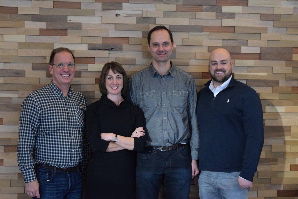 The team behind RoadBotics stand left to right: CEO Mark DeSantis; CCO Courtney Ehrlichman; Christoph Mertz, chief scientist; and CTO Benjamin Schmidt.