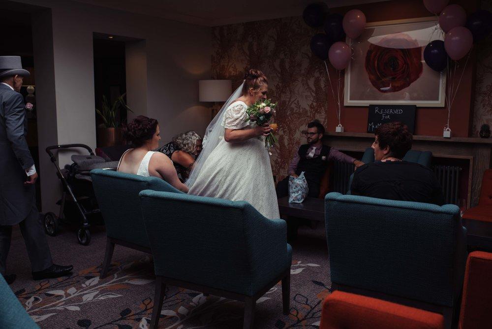 The bride arrives inside the castle green hotel