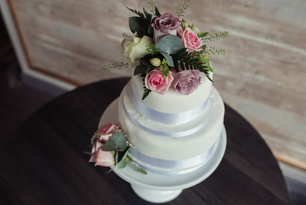 The wedding cake in the greenhouse restaurant