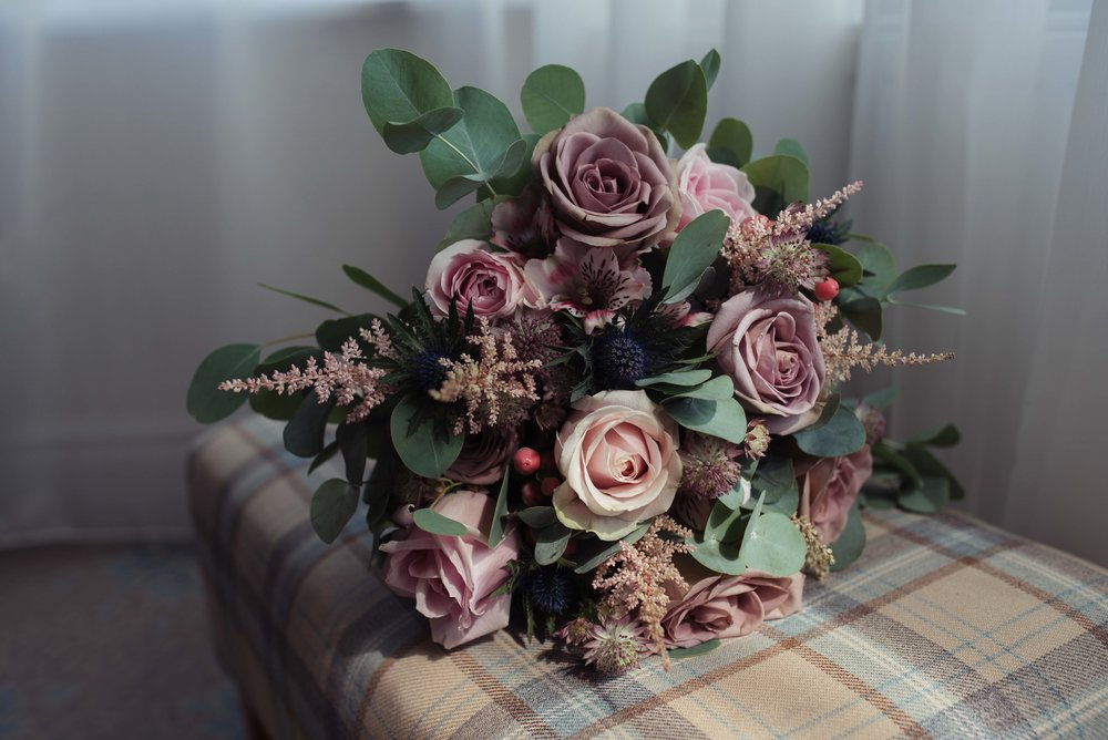 Bridal flowers in dusky pink and olive colour