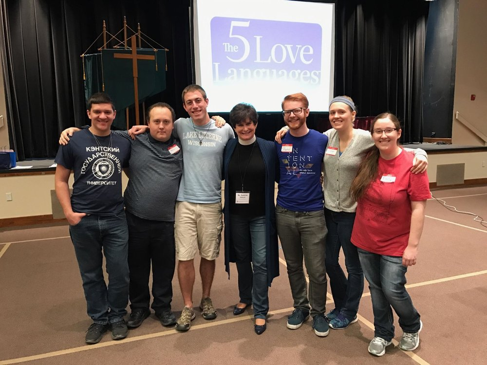 Rick, Matthew, Gavin, Ben, Kirsten, and Emily with our synodical bishop Suzanne Dillahunt. Photo by Jen Jarman.