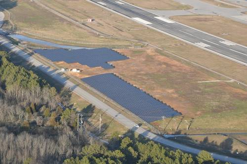 An aerial view of the entire one megawatt solar farm.