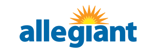 Allegiant Airlines Logo with Ticket Counter Hours and Contact Information
