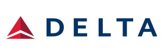 Delta Airlines Logo with Ticket Counter Hours and Contact Information