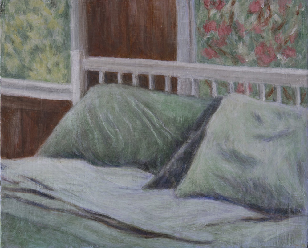 "Country House Bed, 8"" x 10"" egg tempera Rachel Lulov Segall"
