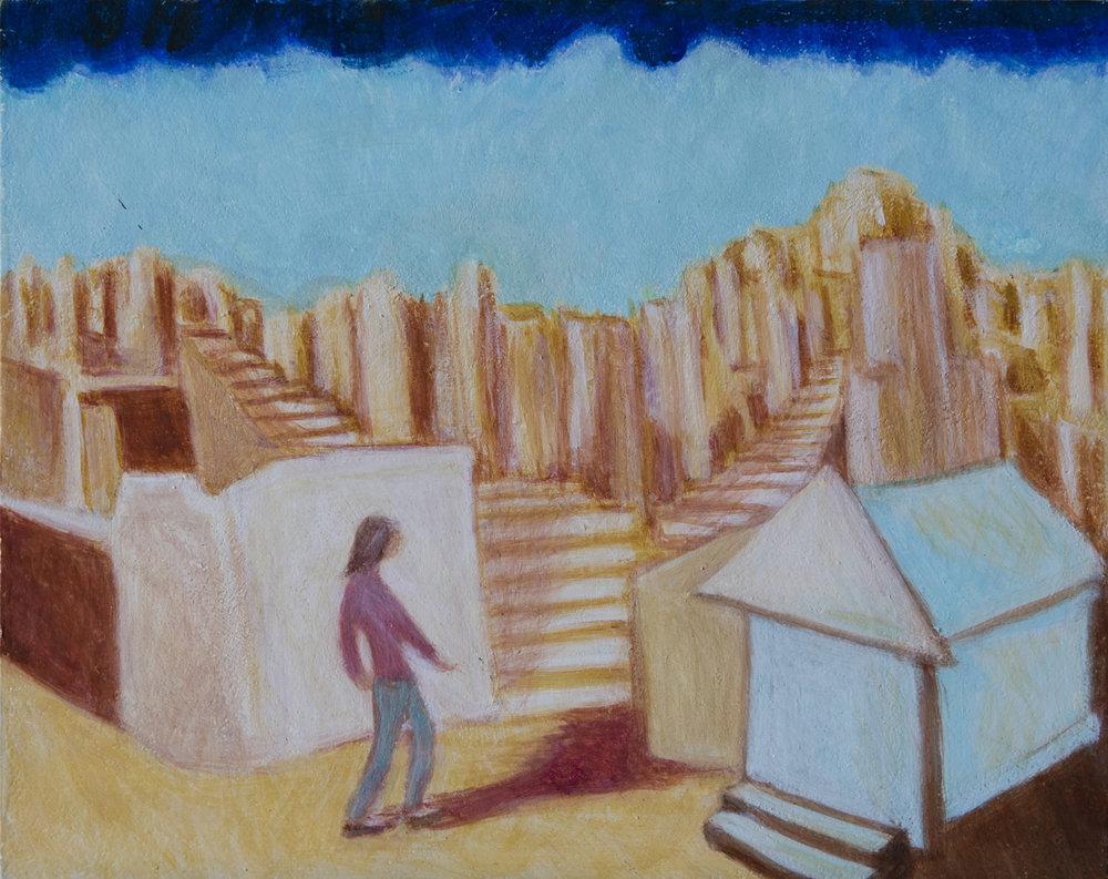 """Imaginary City 8"""" x 10"""" egg tempera Rachel Lulov Segall"""