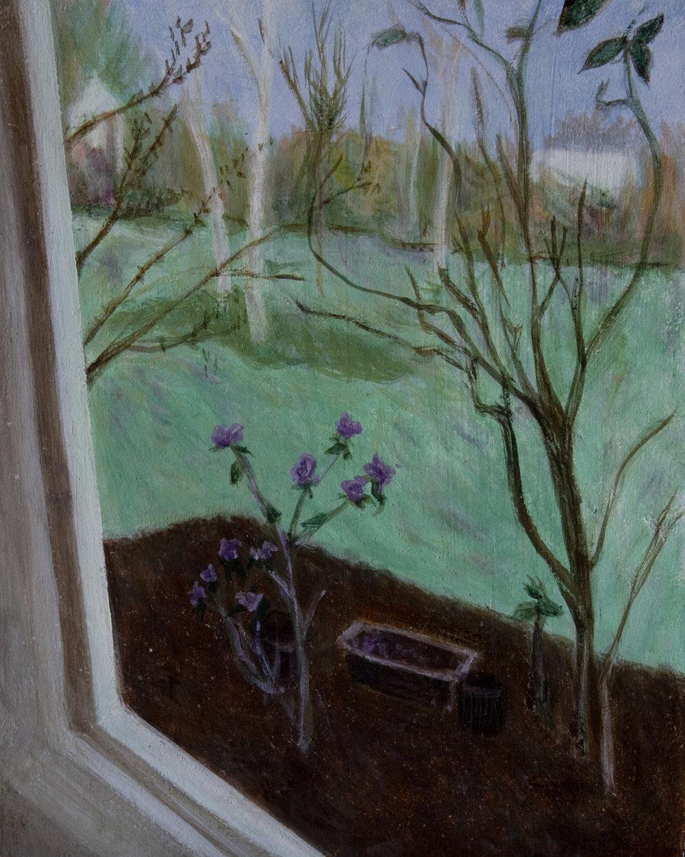 "Early Spring 8"" x 10"" egg tempera Rachel Lulov Segall"