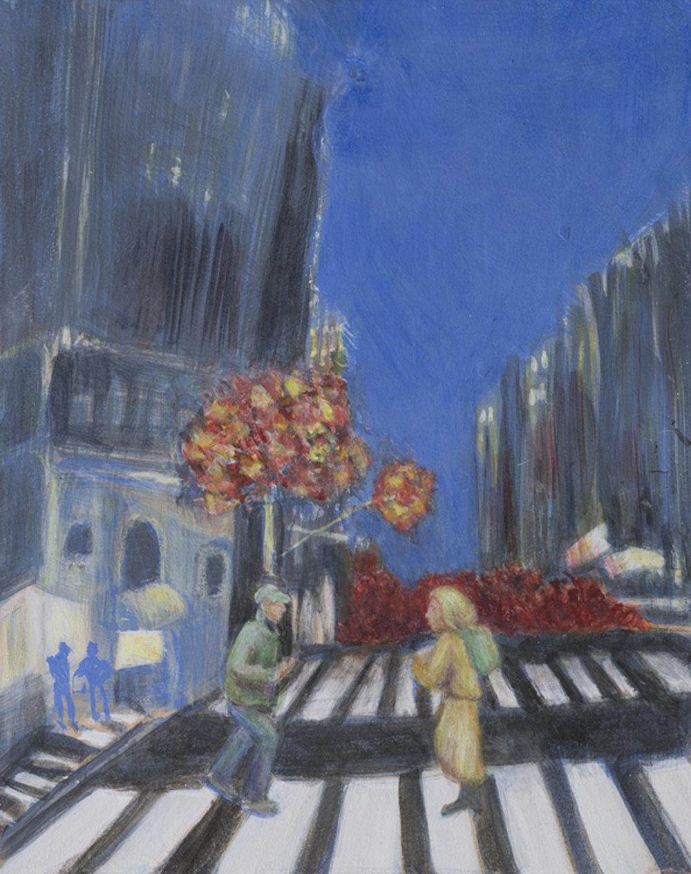 """Night Street Encounter 8"""" x 10"""" egg tempera Rachel Lulov Segall"""