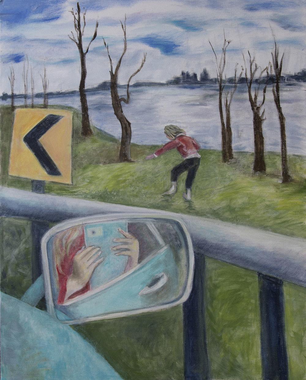 """At the Hudson acrylic on canvas 22"""" x 30"""" Rachel Lulov Segall"""