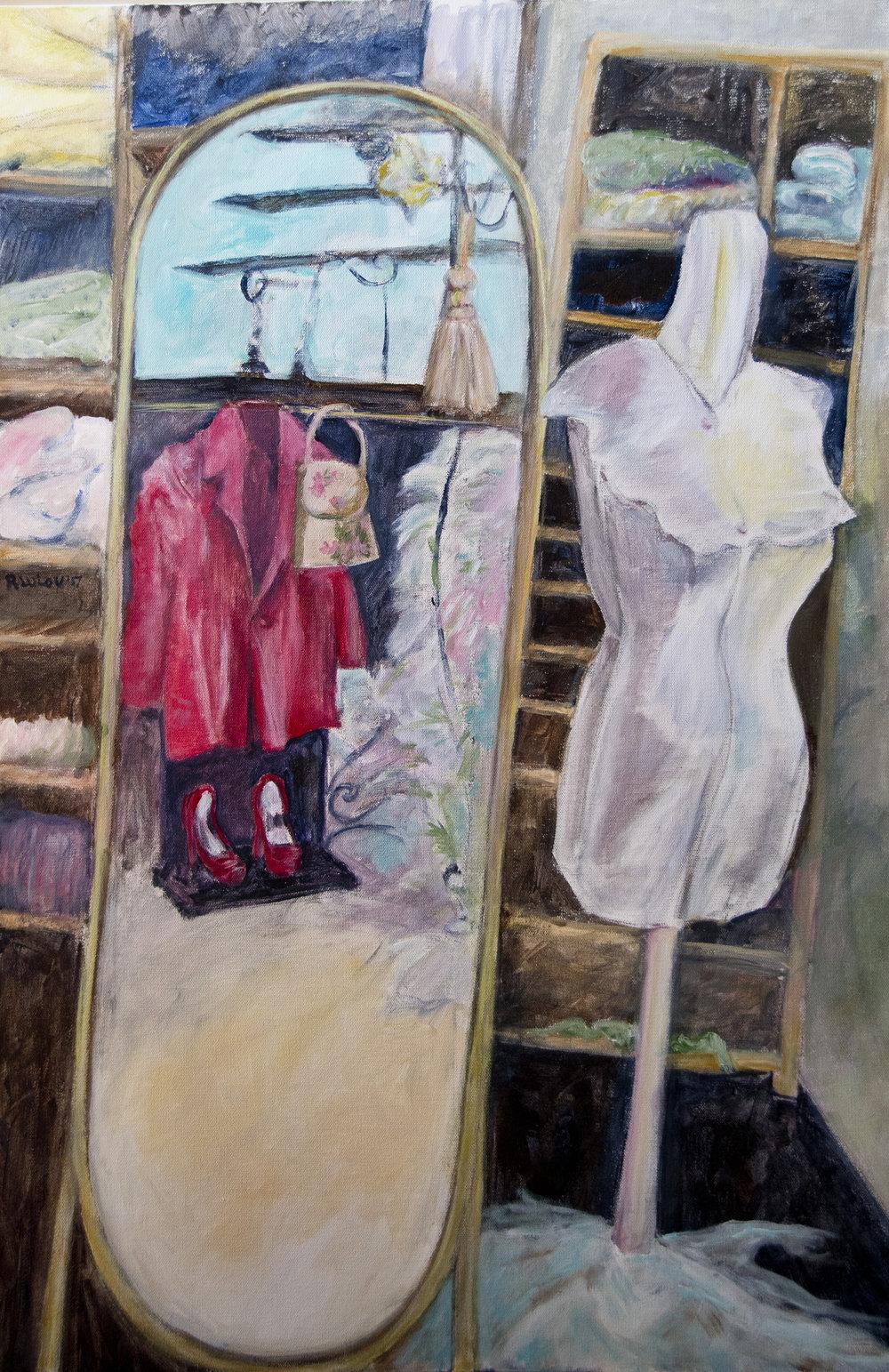 The Dressmakers Shop acrylic on canvas 24 x 36 Rachel Lulov Segall