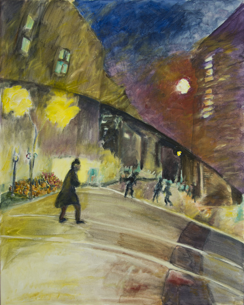 "City at Night acrylic on canvas 24"" x 30"" Rachel Lulov Segall"