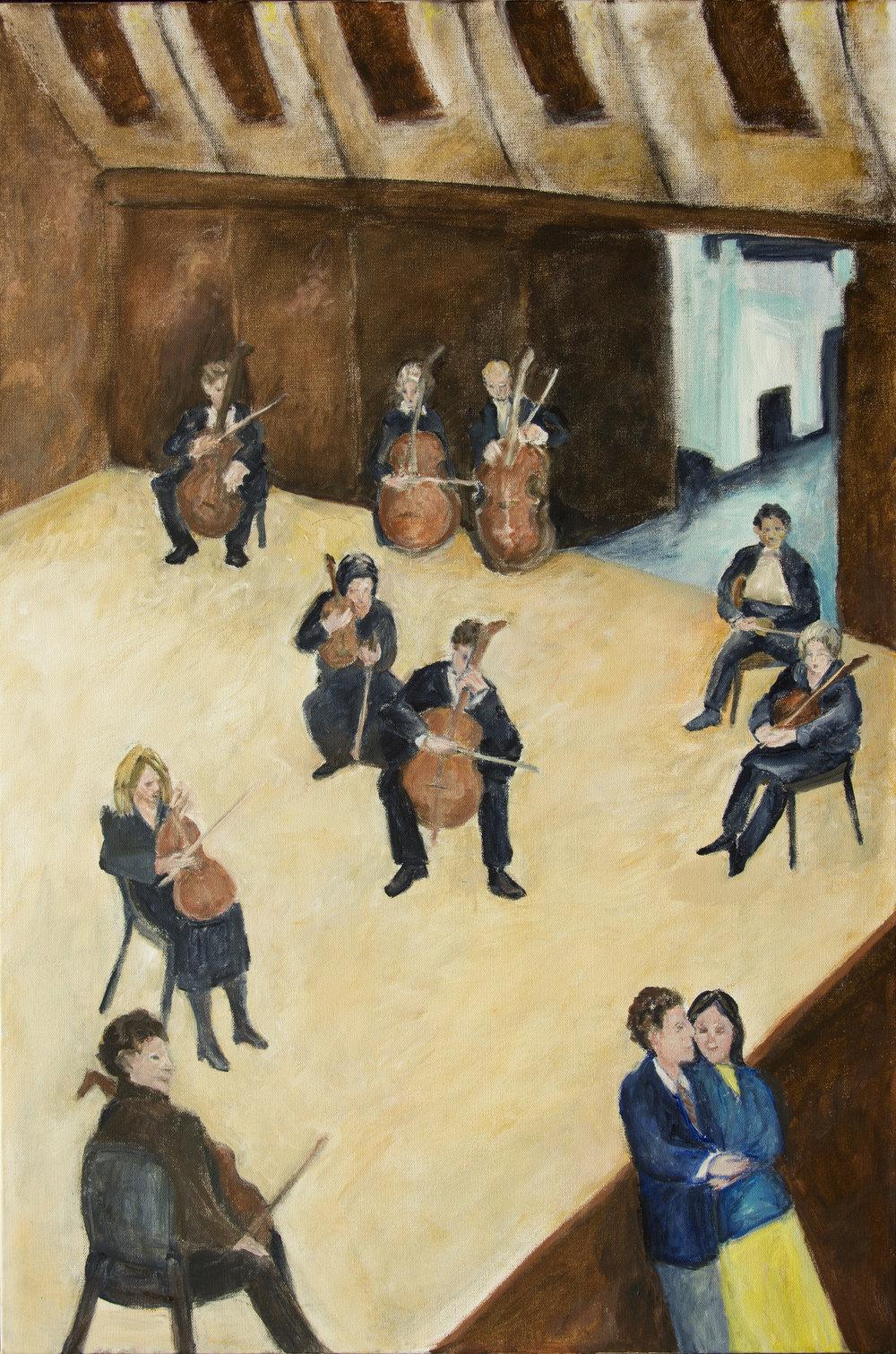 "Before the Concert acrylic on canvas 24"" x 36"" Rachel Lulov Segall"