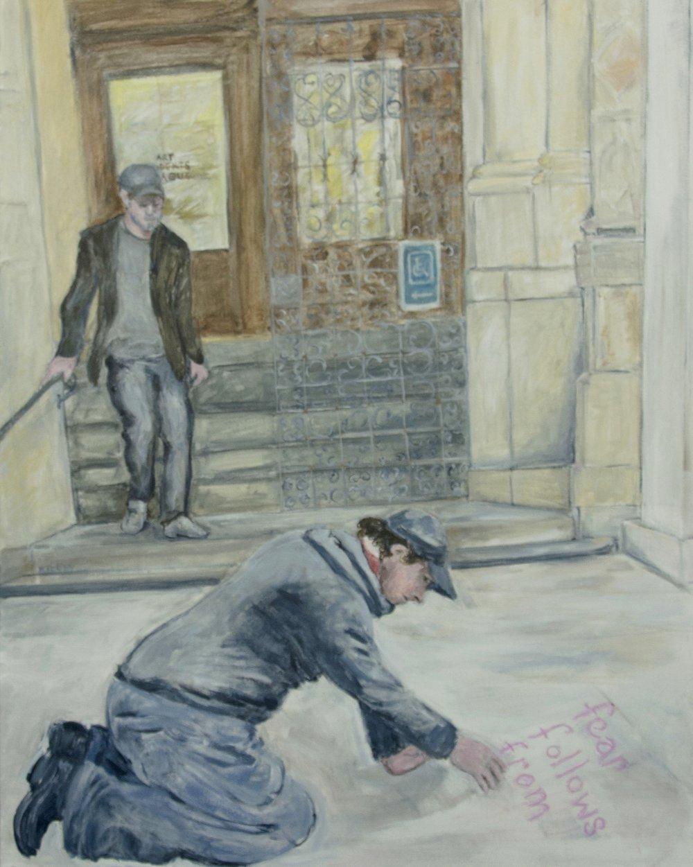 """Fear Follow From... acrylic on canvas 24"""" x 30"""" Rachel Lulov Segall"""