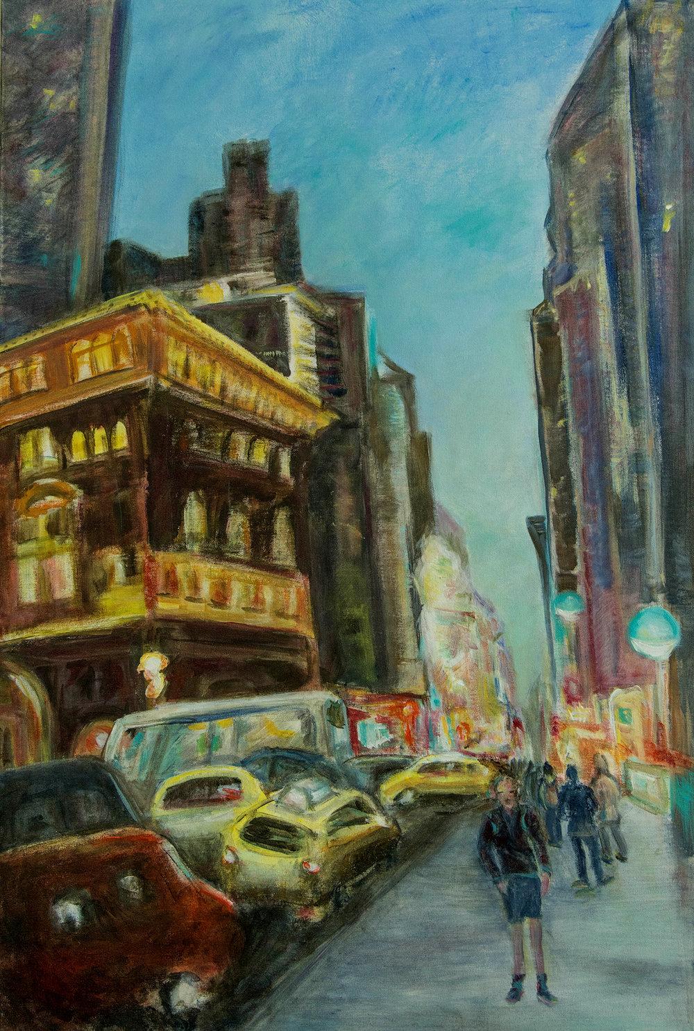 Down 7th Avenue, acrylic on canvas, 24 x 36, Rachel Lulov 2018