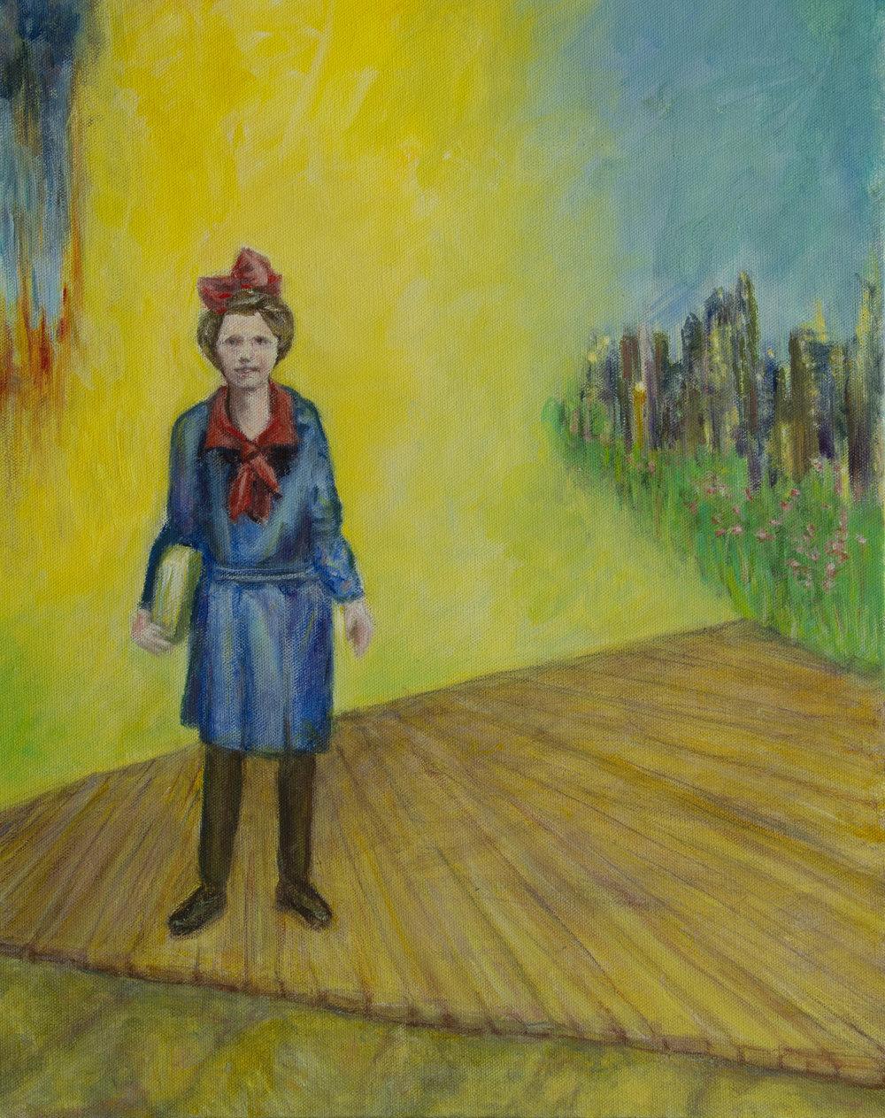 Rae in America, Rachel Lulov Segall acrylic on canvas 2018