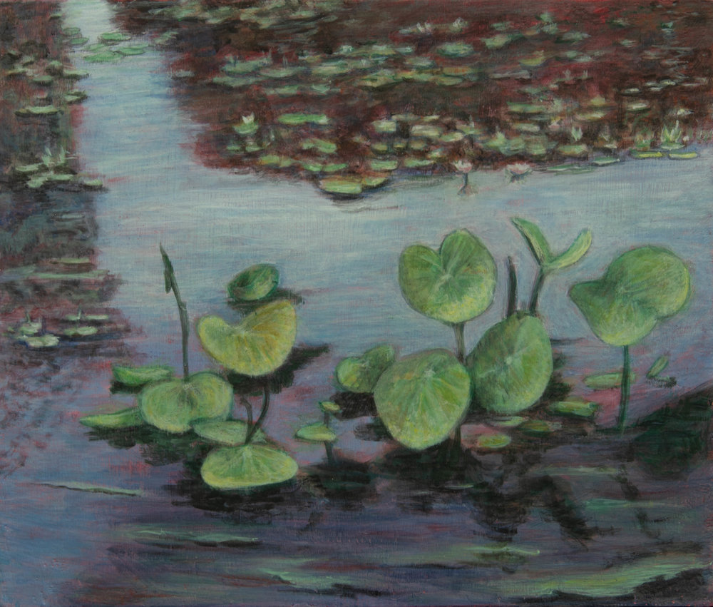 "Water Lilies, Rachel Lulov Segall 2018 Egg Tempera on panel.2018 12""x16"""