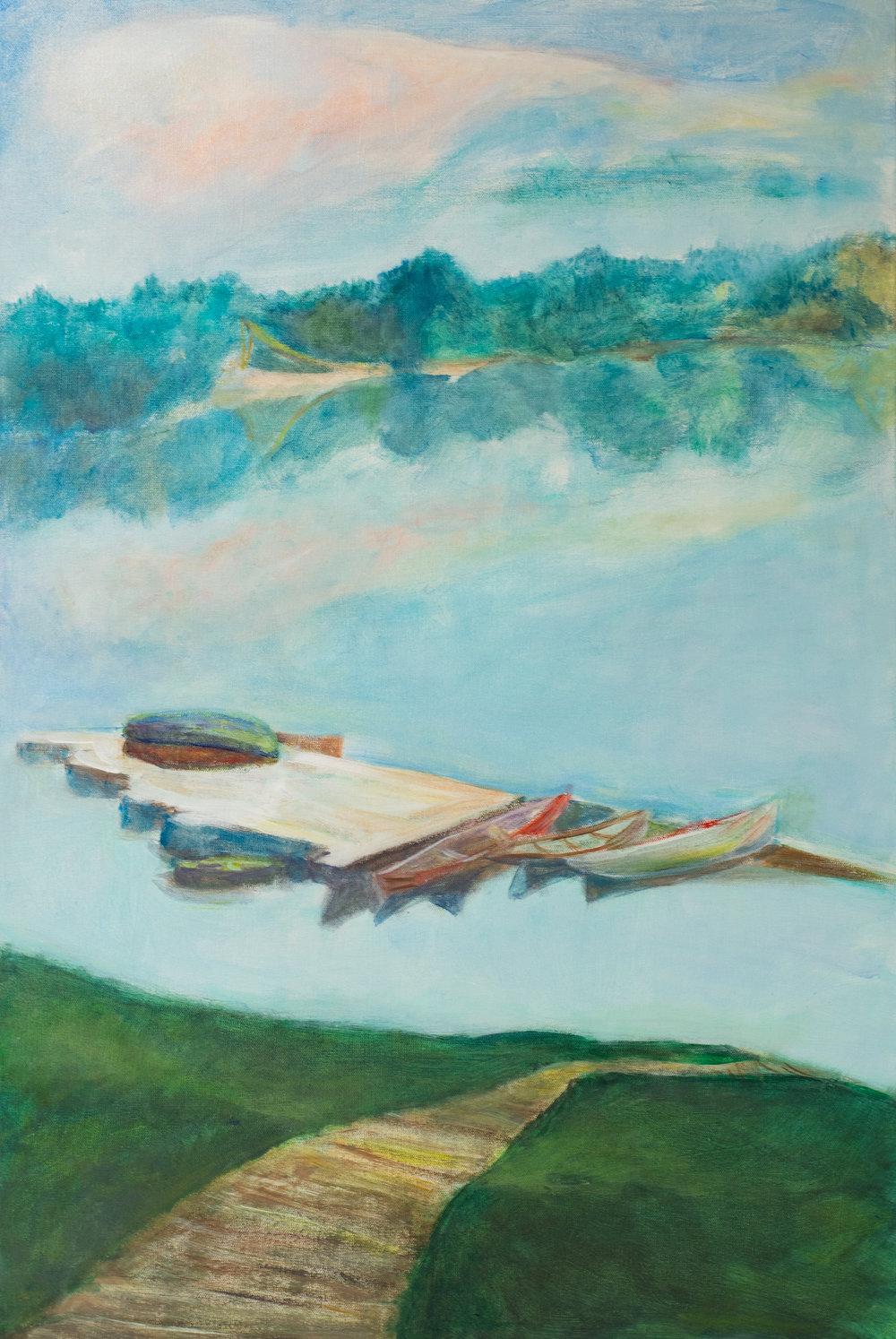 """Wricampea Lake"" acrylic on canvas 24 x 36 Tachel Lulov Segall"