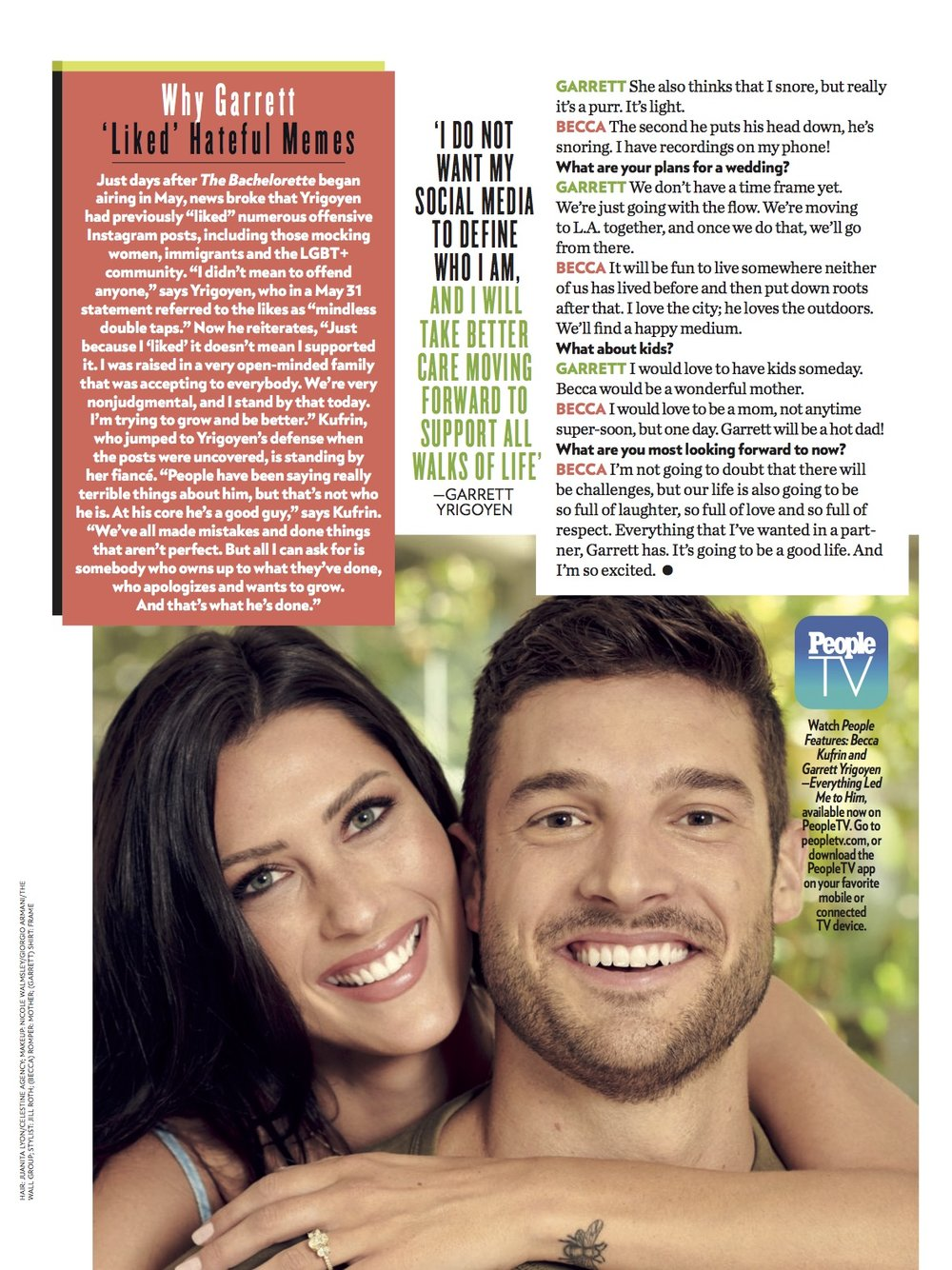 People  Magazine - August 20, 2018: Becca Kufrin in The Shell Bracelet. Page 3.