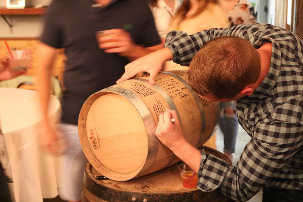 The 5 gallon barrel makes the prefect guestbook at your upcoming event