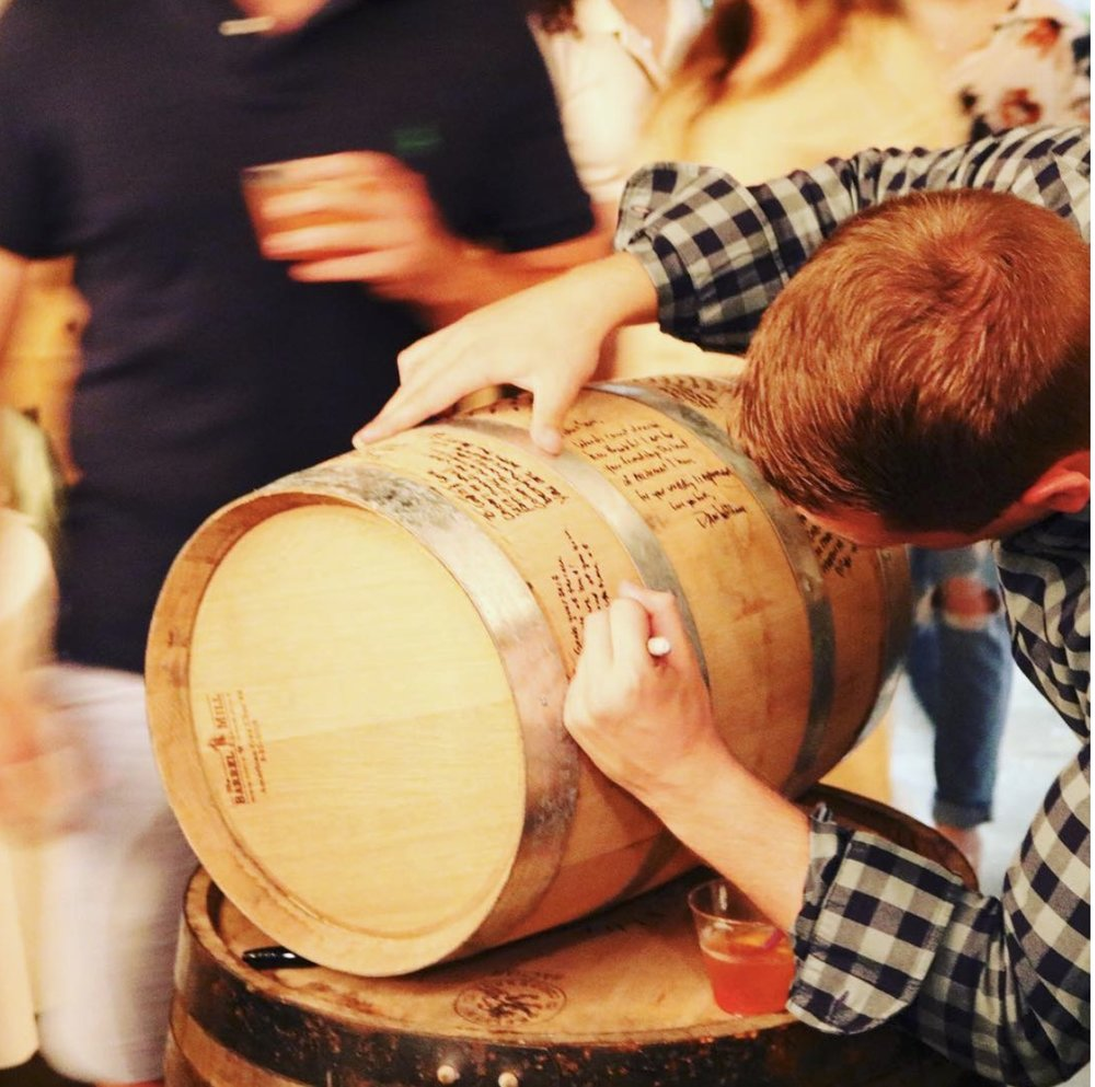 Custom 5 gallon barrel available, perfect for weddings and corporate parties.  www.bluegrassdistillers.com/barrelprogram